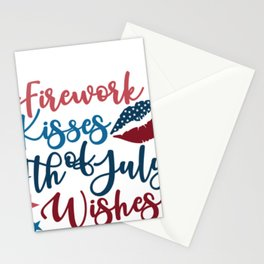 Indepence Day Firework Kisses Fourth of July WIshes July 4th Shirt Stationery Cards