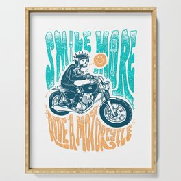 Smile More, Ride a Motorcycle Serving Tray