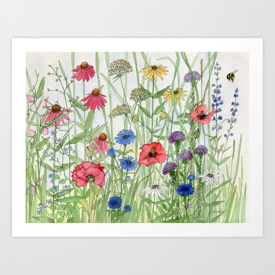 Watercolor of Garden Flower Medley by betweentheweeds