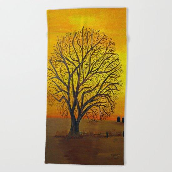 Rural sunset Beach Towel