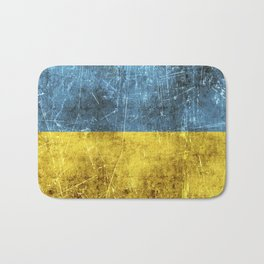 Vintage Aged and Scratched Ukrainian Flag Bath Mat