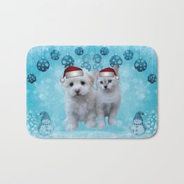 Christmas Cat and Dog Bath Mat