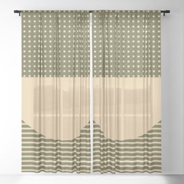 Geometric Spring Abstract - Pantone Warm color Sheer Curtain
