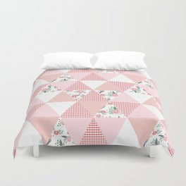 Quilt quilter cheater quilt pattern florals pink and white minimal modern nursery art Duvet Cover