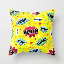 BOOM! POW! CRASH! Throw Pillow