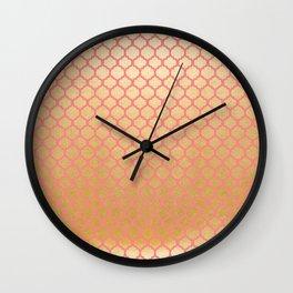 Elegant pink coral faux gold glitter vintage quatrefoil Wall Clock