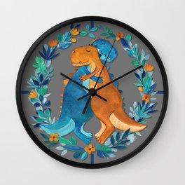Dino Hugs Wall Clock