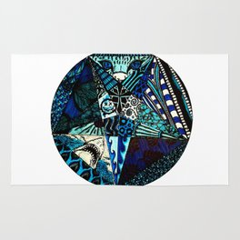 High Quality Blue Toned Pentagram Rug