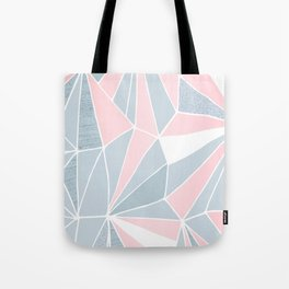 Cool blue/grey and pink geometric prism pattern Tote Bag
