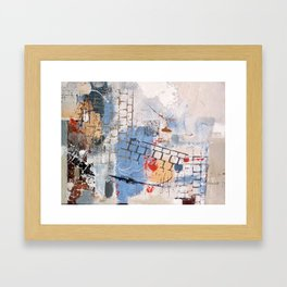 Breaking Down The Walls Blue Abstract Framed Art Print