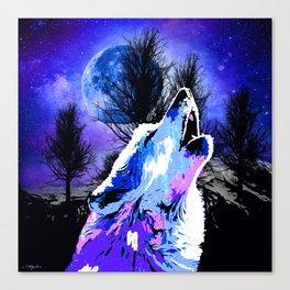 NEBULA WOLF MOON TREE MOUNTAIN SPARKLE Canvas Print