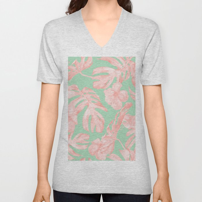 Tropical Palm Leaves Hibiscus Pink Mint Green Unisex V-Neck