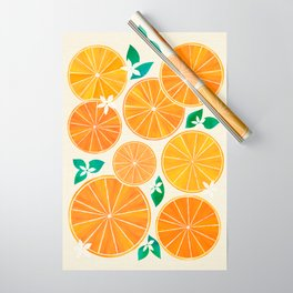 Orange Slices With Blossoms Wrapping Paper