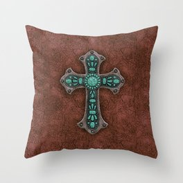 Brown and Turquoise Rustic Cross Throw Pillow