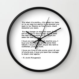 F Scott Fitzgerald quote Wall Clock