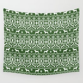 Jack Russell Terrier fair isle christmas sweater dog breed pattern holidays green and white Wall Tapestry
