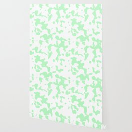 Large Spots - White and Light Green Wallpaper