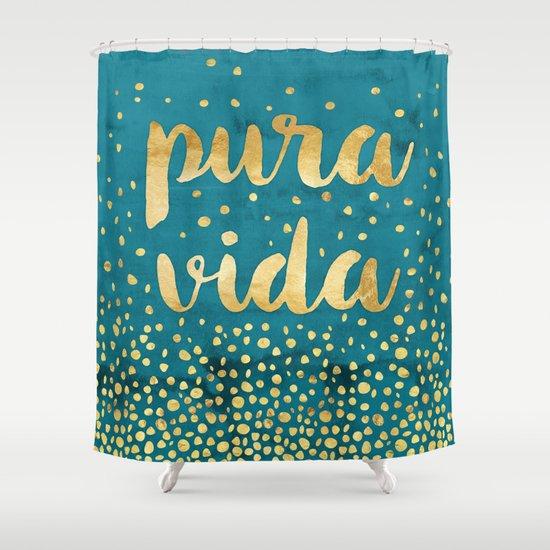 Pura Vida Gold On Teal Shower Curtain By Erin Morris Society6