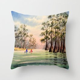 Suwannee River Florida Canoeing Throw Pillow