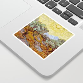 Olive Trees with Yellow Sky and Sun by Vincent van Gogh Sticker