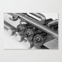 Vintage Brass Trumpet Valves and Tubes Canvas Print