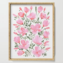 Pink watercolor poppies Serving Tray