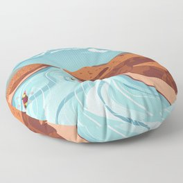 Blue river flowing through the high mountain and rafting people landscape Floor Pillow