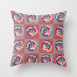 Spinning colourful rings on red and grey chessboard Throw Pillow