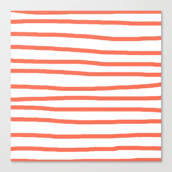 Simply Drawn Stripes in Deep Coral Canvas Print