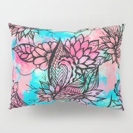 Modern floral watercolor hand drawn fall trend Pillow Sham