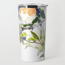 Bluebird and Blueberry Travel Mug