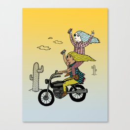 On the freedom experienced by Desert Bike Harpies.   Canvas Print