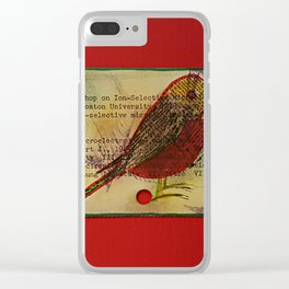 Bird and a library catalogue card 1 Clear iPhone Case