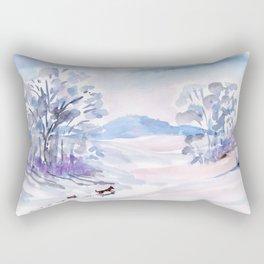 Winter walk of dogs Rectangular Pillow