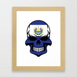 El Salvadorian Flag Skull Framed Art Print