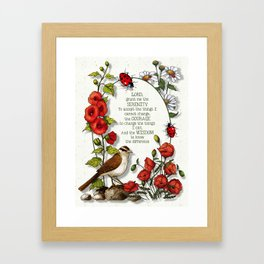 Serenity Prayer with Bird and Flowers and Ladybugs Framed Art Print