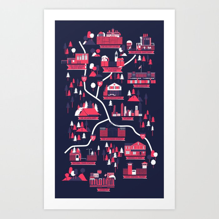 Discover the motif THE SURVIVORS MAP (DARK EDITION) by Robert Farkas as a print at TOPPOSTER