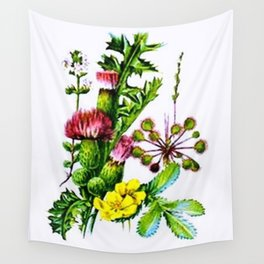 Vintage Wildflowers Thistle Wall Tapestry
