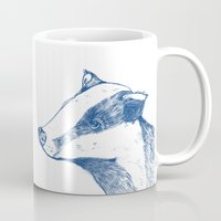 badger Mugs featuring Badger by Emily Stalley