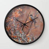 robin Wall Clocks featuring robin by RasaOm