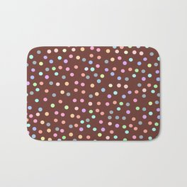 chocolate Glaze with sprinkles. Brown abstract background Bath Mat