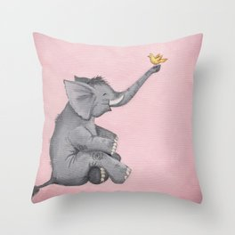A Little Birdie Told Me - Elephant and Bird Throw Pillow