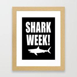 Shark Week, white text on black Framed Art Print