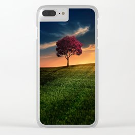Pretty Landscape with a Red Tree at Sunset Clear iPhone Case