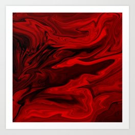 Blood Red Marble Art Print