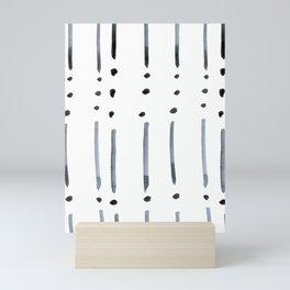 black and white dots and dashes boho modern Mini Art Print