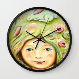 Hare in her hair Wall Clock