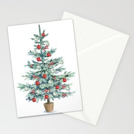 Christmas tree with red balls Stationery Cards