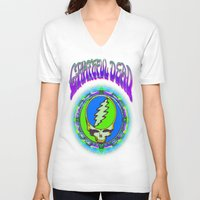grateful dead V-neck T-shirts featuring Grateful Dead #9 Optical Illusion Psychedelic Design by CAP Artwork & Design