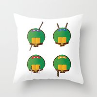 ninja turtles Throw Pillows featuring Ninja Turtles by East Atlantic Design